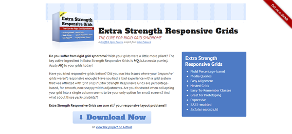 Extra Strength Responsive Grids homepage