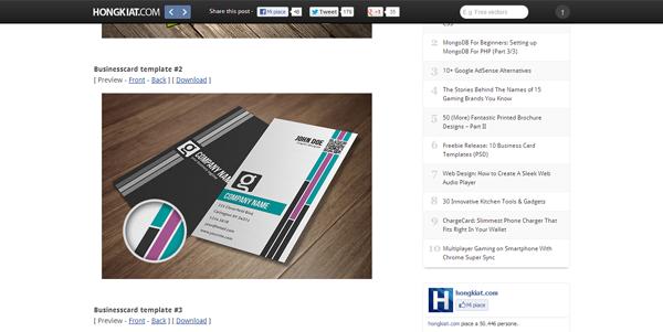 Freebie Release- 10 Business Card Templates (PSD)