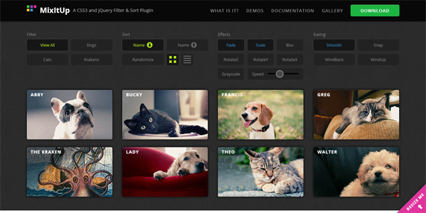 MixItUp jQuery plugin homepage