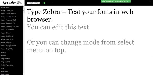 Type Zebra: testare i font