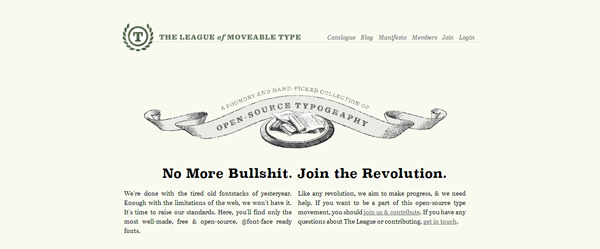 Free fonts: The League of Moveable Type